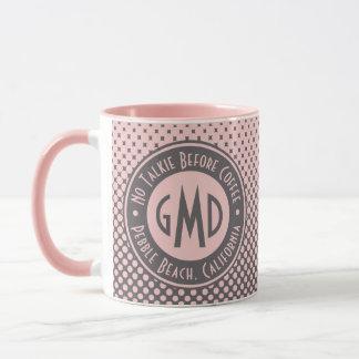 水玉模様のモノグラムの千年のピンクの灰色のトレンディー マグカップ