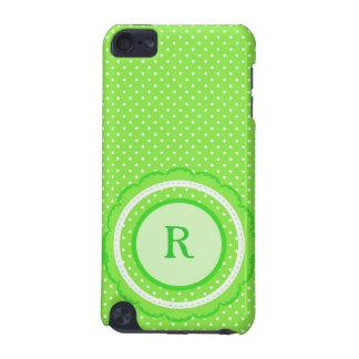 水玉模様のモノグラムのiPod緑の5gの箱 iPod Touch 5G ケース