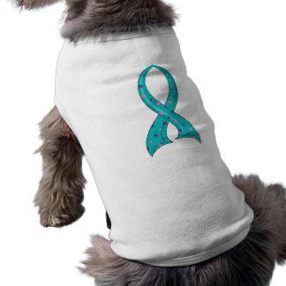 水玉模様の三色のリボンの甲状腺癌 ペット服