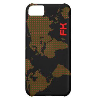 水玉模様の世界地図の赤のイニシャル iPhone5Cケース