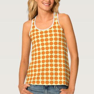 水玉模様の円のプリントのオレンジ黄色 タンクトップ