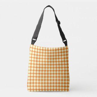 水玉模様の円の水玉模様パターンオレンジ黄色 クロスボディバッグ