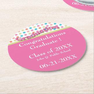 水玉模様の卒業の紙のコースターによって飾って下さい ラウンドペーパーコースター