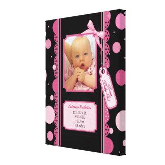 水玉模様の女の赤ちゃんのキャンバスのプリント キャンバスプリント