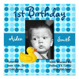 水玉模様の子供の誕生日の招待(男の子) 13.3 スクエアインビテーションカード