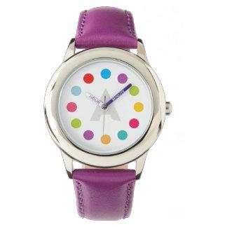 水玉模様の明るくカラフルなモノグラムの腕時計 腕時計