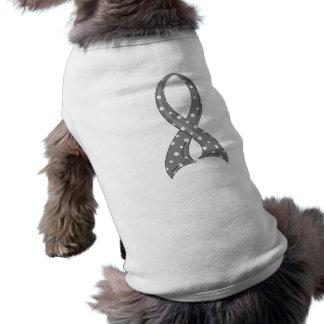 水玉模様の灰色のリボンのパーキンソン病 ペット服
