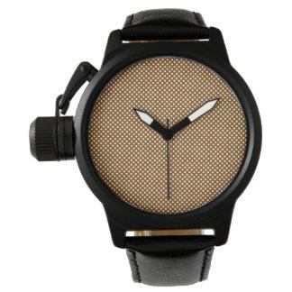 水玉模様の王冠の保護装置の黒の革 腕時計