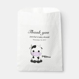 水玉模様の甘い牛はベビーシャワー感謝していしています フェイバーバッグ