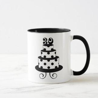 水玉模様の第30お誕生日ケーキ マグカップ