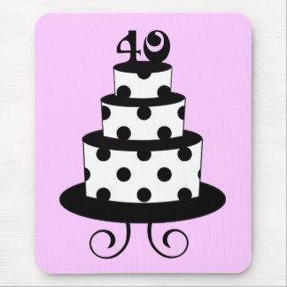 水玉模様の第40誕生日記念日のケーキ マウスパッド