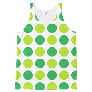水玉模様の緑 オールオーバープリントタンクトップ
