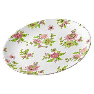 水玉模様の花のPatternDecorativeの磁器皿 磁器プレート