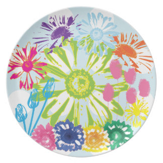 水玉模様の花園のメラミンプレート プレート