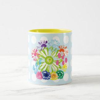 水玉模様の花園2の調子のマグ ツートーンマグカップ