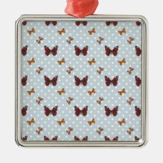 水玉模様の蝶パターン メタルオーナメント
