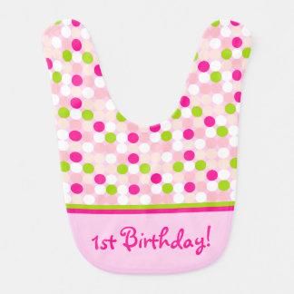 水玉模様の誕生日のベビー用ビブ ベビービブ