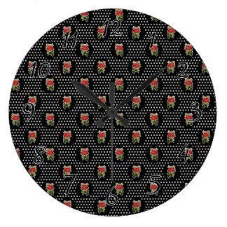 水玉模様の赤いバラ ラージ壁時計