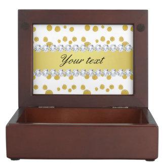 水玉模様の金ゴールドの油性ペイントおよびダイヤモンド ジュエリーボックス