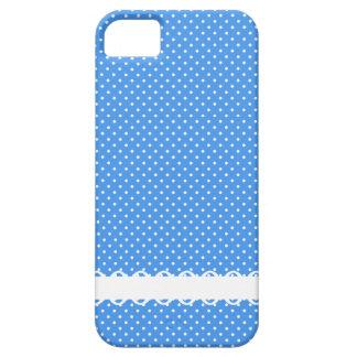 水玉模様の青く白いレトロの点の空想のボーダー iPhone SE/5/5s ケース