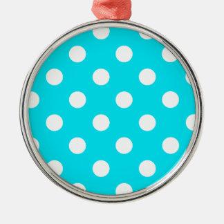 水玉模様の青緑色の六角形のコード00E3F4 メタルオーナメント