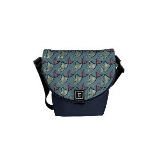 水玉模様の魚パターン メッセンジャーバッグ