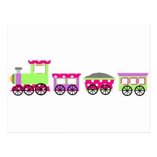 水玉模様のChooピンクのChooの列車 ポストカード