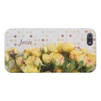水玉模様のiPhone 5の精通した場合の黄色バラ iPhone 5 ケース