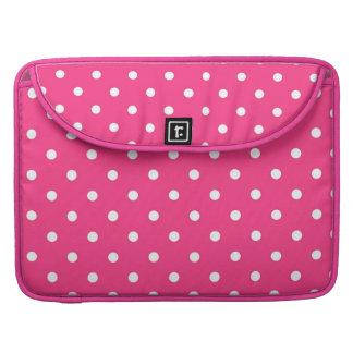 水玉模様のMacbookの赤紫のピンク及び白い袖 MacBook Proスリーブ