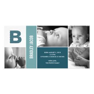 水玉模様はベビーの誕生の発表に署名します フォトグリーティングカード