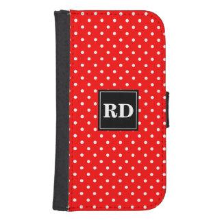 水玉模様パターンSamsungの赤と白のウォレットケース 手帳 Galaxy S4ケース