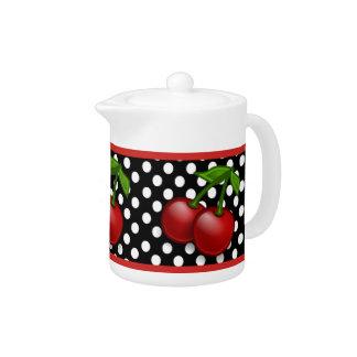 水玉模様及びさくらんぼの陶磁器の茶ポット