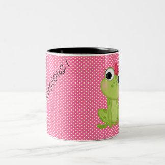 水玉模様、かわいくFroggyやる気を起こさせるなメッセージ ツートーンマグカップ