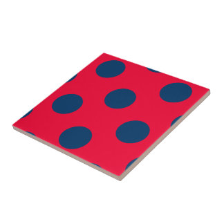 水玉模様(濃紺及び赤)カスタマイズ可能なサイズ タイル