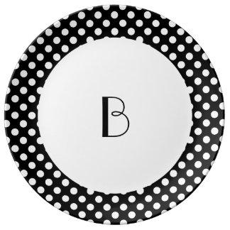 水玉模様-白 磁器プレート
