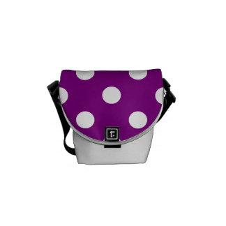 水玉模様-紫色の白 メッセンジャーバッグ
