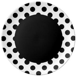 水玉模様-黒 磁器プレート