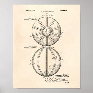 水球の球1923のパテントの芸術古いPeper ポスター