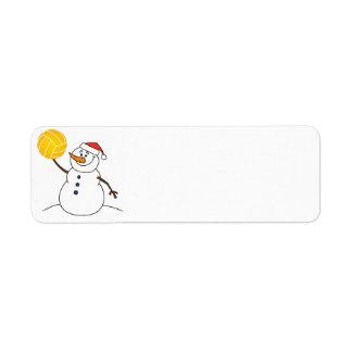 水球の雪だるまの差出人住所ラベル ラベル