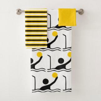 水球プレーヤーのシルエットの黒、黄色のストライブ柄 バスタオルセット