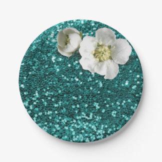 水生エメラルドの花の白いジャスミンのグリッター ペーパープレート