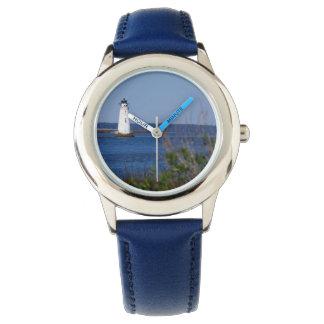 水生テーマの腕時計-ブルー・バンドが付いている灯台 腕時計