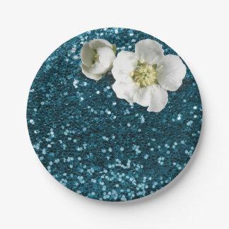 水生Tiffanyの青く白いジャスミンのグリッター ペーパープレート
