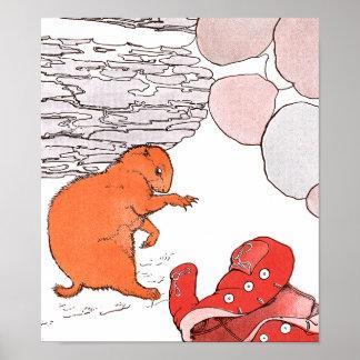 水田の足は赤いコートを見つけます ポスター