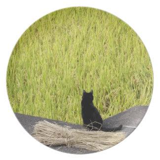 水田の黒猫 プレート