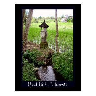 水田、寺院、Ubudバリ島、インドネシア ポストカード