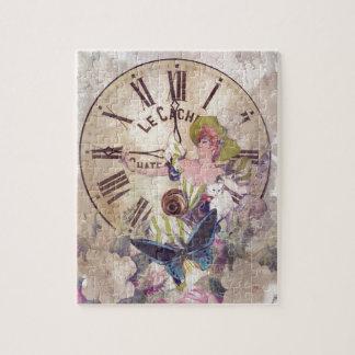 水色のヴィンテージの女性の時計猫 パズル