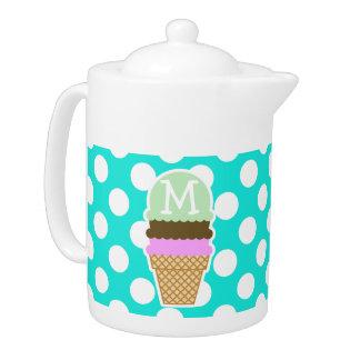 水色の水玉模様; アイスクリームコーン