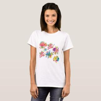 水色の花柄 Tシャツ