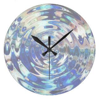水要素のさざ波パターン ラージ壁時計